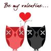 Owls In Love with Be My Valentine Text clipart