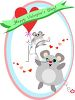 Valentine Design of Mice with Heart Balloons clipart