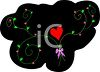 Valentine Design of a Red Heart and Vines on a Black Background clipart