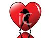 Silhouette of a Sexy Woman Dancing in Front of a Heart clipart