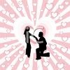 Silhouette of a Man Proposing on One Knee clipart