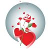 Red Hearts with a Single Red Rose clipart