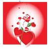 Hearts and a Red Rose Valentine clipart