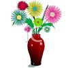 Bouquet of Mums in a Vase clipart