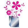 Spindly Pink Flowers in a Square Metal Vase clipart