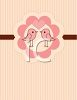 Cute Little Lovebirds on a Pink and Brown Striped Background clipart