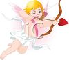 Golden Haired Cupid Shooting a Heart Shaped Arrow clipart