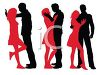Silhouette of a Couple in Different Poses of Affection clipart