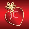 Gold Bow on a Heart Shaped Ornament clipart