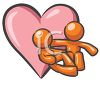 Male and Female Figures Sitting in Front of a Large Heart clipart