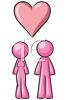 Male and Female Figures Standing with a Heart Above Them clipart