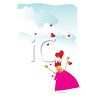 Hearts Falling From the Clouds on a Woman clipart