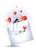 Valentine's Day Card in an Envelope with Hearts and a Rose clipart