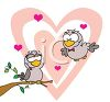Cartoon of a Male Lovebird Flying to His Sweetheart clipart
