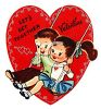 Retro Valentine's Day Card with a Boy and Girl on a Swing clipart