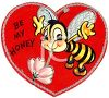 Retro Valentine's Day Card with a Bee Asking to Be My Honey clipart