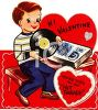 Retro Valentine's Day Card with a Boy Playing Records clipart