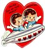 Retro Valentine's Day Card with a Boy and Girl in a Spaceship clipart