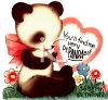 Baby Panda on a Retro Valentine's Card clipart