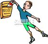 Cartoon of a Boy Putting a Valentine in the Mail clipart
