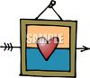 Framed Heart with an Arrow Through It clipart