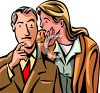 Woman Whispering a Good Idea to a Man clipart