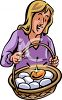 Woman Holding a Basket Full of Eggs with a Golden Egg clipart