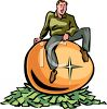 Man Sitting on a Golden Egg on a Pile of Money clipart