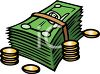 Stack of Paper Money and Some Coins clipart