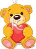 Stuffed Teddy Bear Holding a Heart for Valentine's Day clipart