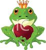 Frog Prince Wearing a Gold Crown Holding a Red Heart clipart