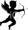 Silhouette of a Cherub or Cupid Shooting a Bow and Arrow clipart