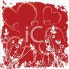 Floral Valentine Design with Hearts and Grasses clipart