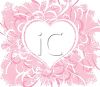 Pink and White Heart with Floral Accents clipart