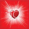 Glossy Heart Exploding on a Star Burst with Glitter and Rays of Light clipart