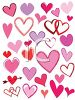 Various Types of Heart Shapes in Cartoon Style clipart