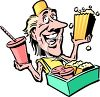 Cartoon of a Vendor Selling Food at a Stadium clipart