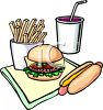 Cartoon of Fast Food Burger Hot Dog and Fries clipart