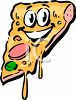 Cartoon of an Animated Slice of Pizza clipart