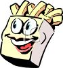 Cartoon of Animated French Fries clipart