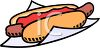 Long Hot Dog on a Bun with Ketchup clipart