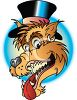 Cartoon Wolf Wearing a Top Hat clipart