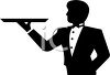 Silhouette of a Butler with a Tray in One Hand clipart