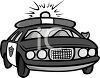 Black and White Retro Police Cruiser clipart