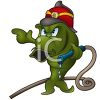 Cartoon of a Fish Fire Fighter Holding a Fire Hose clipart