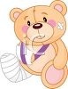 Teddy Bear with His Arm in a Sling and a Broken Leg clipart