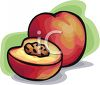 Cut Peach with the Pit Visible clipart