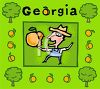American State-Georgia with a Farmer Holding a Peach clipart