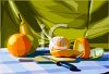Still Life Painting of a Peeled Orange on a Cutting Board clipart