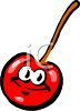 Animated Cherry with a Smiling Face and Big Eyes clipart